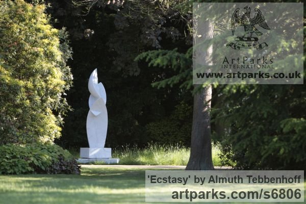Carrara Bianco Marble Garden Or Yard / Outside and Outdoor sculpture by sculptor Almuth Tebbenhoff titled: 'Ecstasy' - Artwork View 1