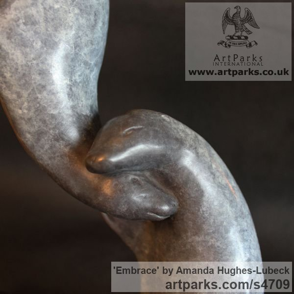 Bronze Wild Animals and Wild Life sculpture by sculptor Amanda Hughes-Lubeck titled: 'Embrace (Small Seals Playing Bronze figurine)' - Artwork View 4