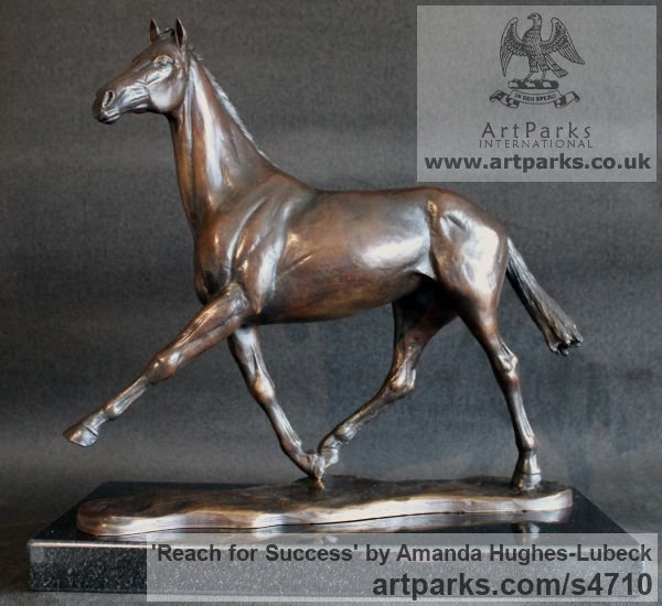 Foundry Bronze Horse Sculpture / Equines Race Horses Pack HorseCart Horses Plough Horsess sculpture by sculptor Amanda Hughes-Lubeck titled: 'Reach for success (Race Horse Trotting out sculpture)'