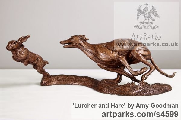 Bronze Dogs sculpture by sculptor Amy Goodman titled: 'Lurcher and Hare (Little Bronze Chase sculpture/statuette/figurine)'