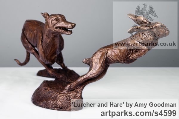 Bronze Dogs sculpture by sculptor Amy Goodman titled: 'Lurcher and Hare (Little Bronze Chase sculpture/statuette/figurine)' - Artwork View 4