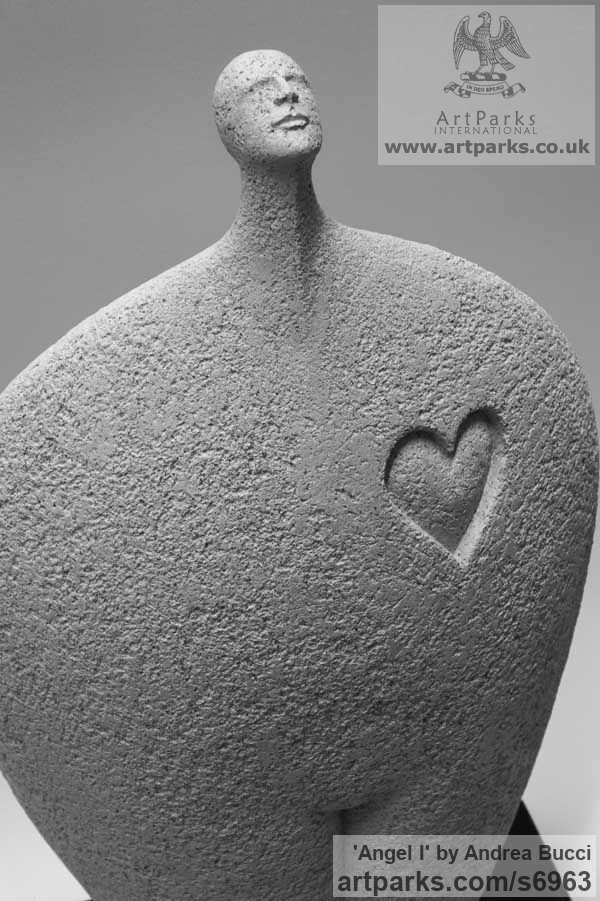 Fire clay Happiness / Joy / Exuberance / Wild Pleasure sculpture by sculptor Andrea Bucci titled: 'Angel (Minimalist Modern Contemporary abstract statuettes statues)' - Artwork View 3
