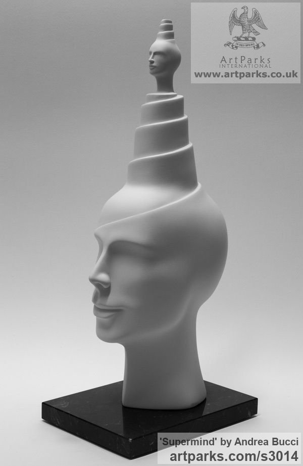 White ceramic bisque Male Men Youths Masculine sculpturettes figurines sculpture by sculptor Andrea Bucci titled: 'Supermind (white Interior ceramic Heads Bust sculpture)' - Artwork View 1
