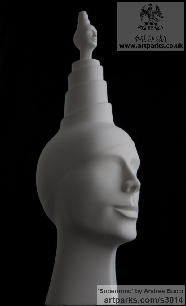 White ceramic bisque Male Men Youths Masculine sculpturettes figurines sculpture by sculptor Andrea Bucci titled: 'Supermind (white Interior ceramic Heads Bust sculpture)' - Artwork View 2