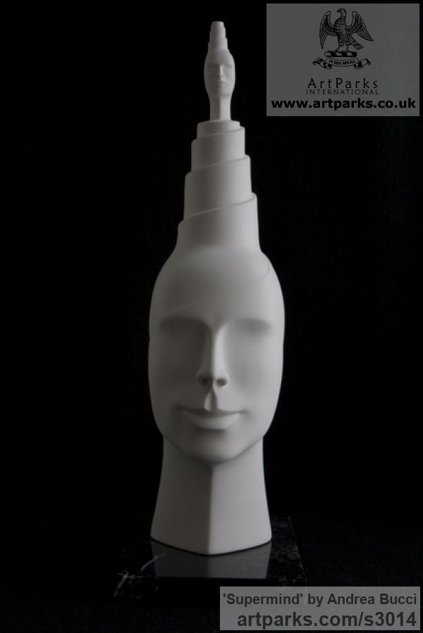 White ceramic bisque Male Men Youths Masculine sculpturettes figurines sculpture by sculptor Andrea Bucci titled: 'Supermind (white Interior ceramic Heads Bust sculpture)' - Artwork View 4