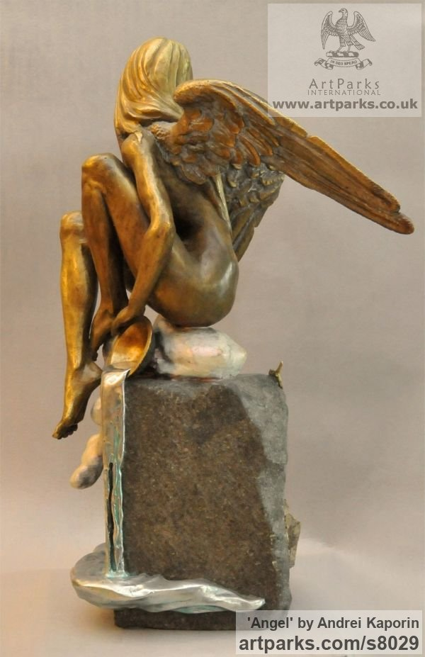 Females Women Girls Ladies sculpture statuettes figurines sculpture by sculptor Andrei Kaporin titled: 'Angel (bronze nude Naked Angel on Cloud sculpture statuettes)' - Artwork View 4