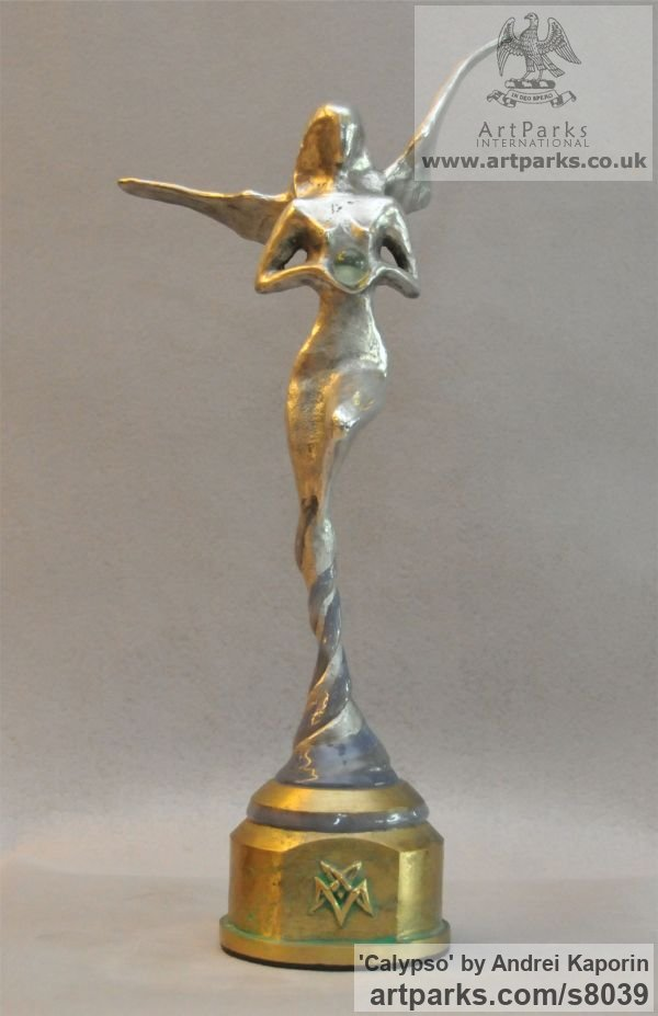 AAuminium & Bronze Females Women Girls Ladies sculpture statuettes figurines sculpture by sculptor Andrei Kaporin titled: 'Calypso (Naked abstract Neried Goddess statuette)' - Artwork View 1