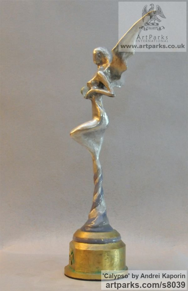 AAuminium & Bronze Females Women Girls Ladies sculpture statuettes figurines sculpture by sculptor Andrei Kaporin titled: 'Calypso (Naked abstract Neried Goddess statuette)' - Artwork View 3