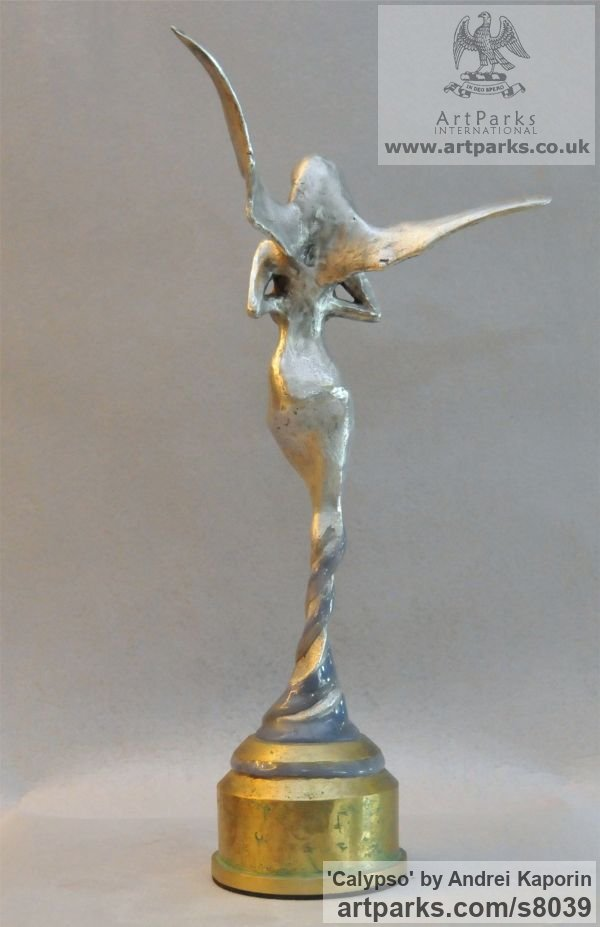 AAuminium & Bronze Females Women Girls Ladies sculpture statuettes figurines sculpture by sculptor Andrei Kaporin titled: 'Calypso (Naked abstract Neried Goddess statuette)' - Artwork View 4