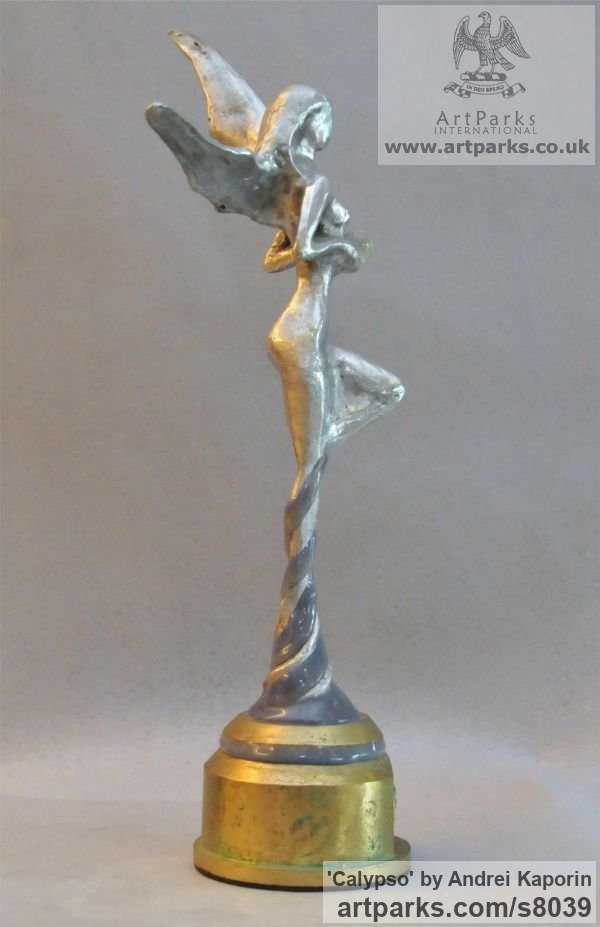 AAuminium & Bronze Females Women Girls Ladies sculpture statuettes figurines sculpture by sculptor Andrei Kaporin titled: 'Calypso (Naked abstract Neried Goddess statuette)' - Artwork View 5