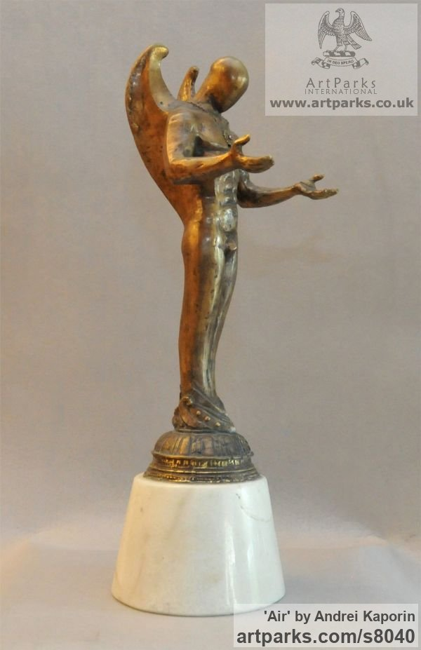 Male Men Youths Masculine sculpturettes figurines sculpture by sculptor Andrei Kaporin titled: 'Air (Arte Decco Male Angel Standing sculpture)' - Artwork View 2