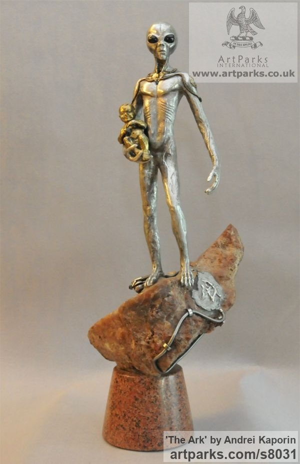 Children Child Babies Infants Toddlers Kids sculpture statuettes figurines sculpture by sculptor Andrei Kaporin titled: 'The Ark (Metal Semi abstract Extra Terrestrial sculpture)' - Artwork View 2
