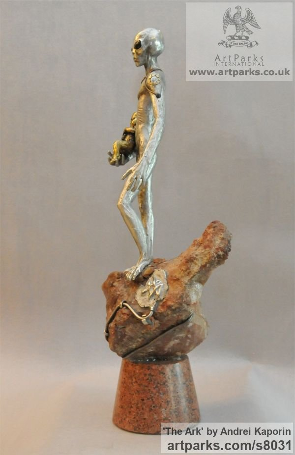 Children Child Babies Infants Toddlers Kids sculpture statuettes figurines sculpture by sculptor Andrei Kaporin titled: 'The Ark (Metal Semi abstract Extra Terrestrial sculpture)' - Artwork View 5