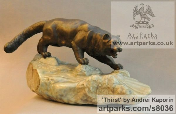 Cats sculpture by sculptor Andrei Kaporin titled: 'Thirst (Prowlimg Hunting Wild Cat sculpture)'