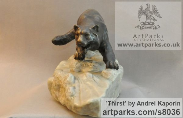 Cats sculpture by sculptor Andrei Kaporin titled: 'Thirst (Prowlimg Hunting Wild Cat sculpture)' - Artwork View 5