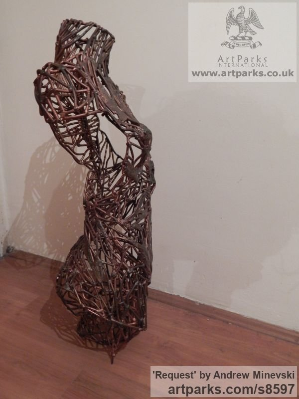 Recycled metal Females Women Girls Ladies sculpture statuettes figurines sculpture by sculptor Andrew Minevski titled: 'Request (Contorted abstract Modern Torso sculpture)' - Artwork View 3
