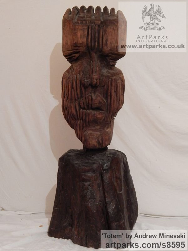 Walnut wood Chainsaw sculpture by sculptor Andrew Minevski titled: 'Totem (Carved Wood Primitive sculpture)' - Artwork View 1
