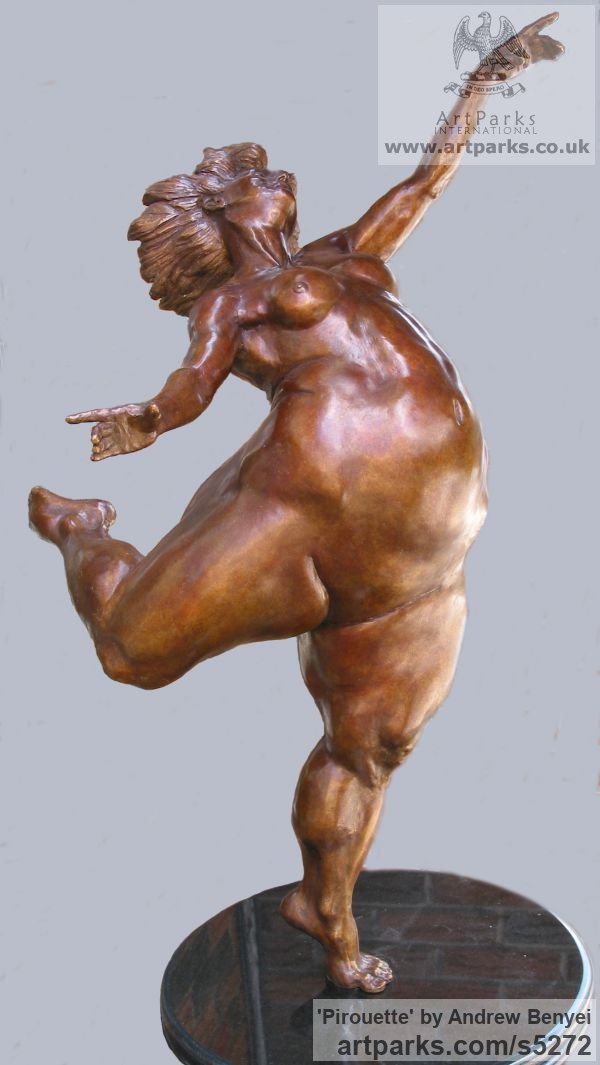 Bronze Females Women Girls Ladies sculpture statuettes figurines sculpture by sculptor Andrew Benyei titled: 'Pirouette (bronze Buxom Woman Dancer Dancing Naked statue)' - Artwork View 3