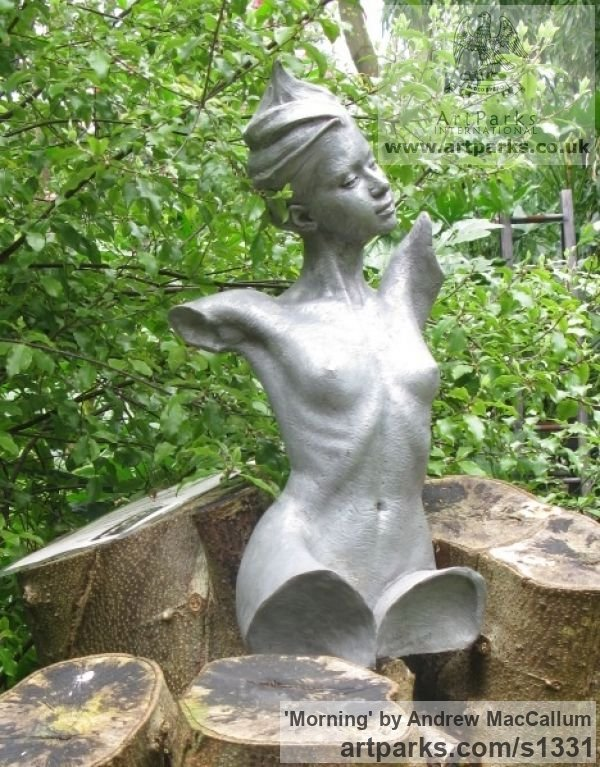 Bronze Resin Garden Or Yard / Outside and Outdoor sculpture by sculptor Andrew MacCallum titled: 'Morning (nude Girl Young female Torso sculptures)'