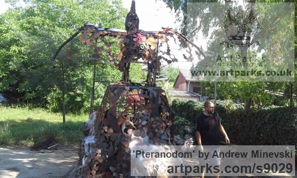 Recycled metal Fabricated Metal Abstract sculpture by sculptor Andrew Minevski titled: 'Pteranodom (abstract Prehistoric Monster statues)' - Artwork View 4