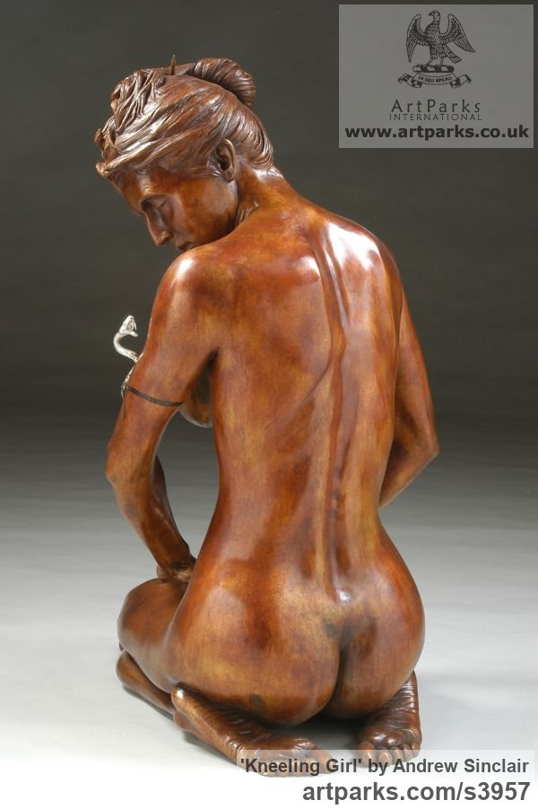 Bronze Females Women Girls Ladies sculpture statuettes figurines sculpture by sculptor Andrew Sinclair titled: 'Kneeling Girl' - Artwork View 2
