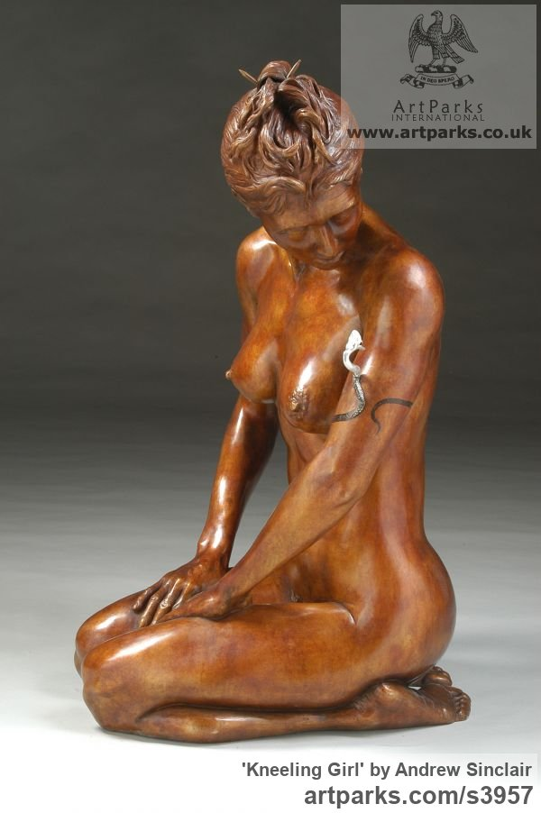 Bronze Females Women Girls Ladies sculpture statuettes figurines sculpture by sculptor Andrew Sinclair titled: 'Kneeling Girl' - Artwork View 3