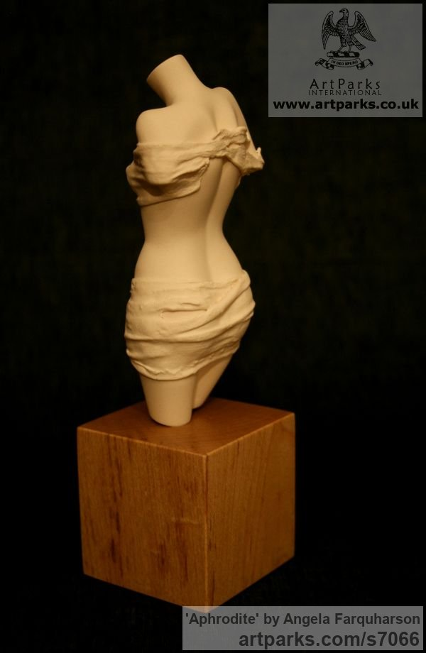Porcelain Females Women Girls Ladies sculpture statuettes figurines sculpture by sculptor Angela Farquharson titled: 'Aphrodite (Little ceramic Girl Torso statuette)' - Artwork View 3