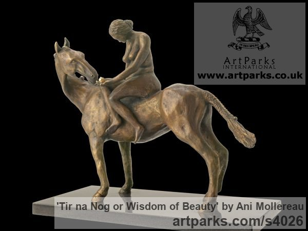 Bronze Horse Sculpture / Equines Race Horses Pack HorseCart Horses Plough Horsess sculpture by sculptor Ani Mollereau titled: 'Tir na Nog or Wisdom of Beauty (Small Horse statues)' - Artwork View 2