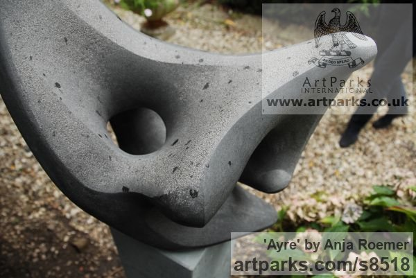 Carved stone, Diabas Garden Or Yard / Outside and Outdoor sculpture by sculptor Anja Roemer titled: 'Ayre (abstract Modern Outdoor garden stone sculpture)' - Artwork View 2