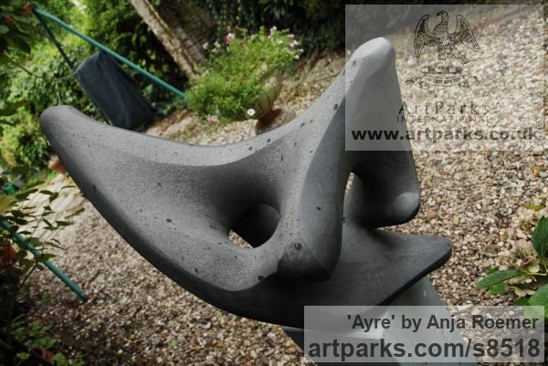 Carved stone, Diabas Garden Or Yard / Outside and Outdoor sculpture by sculptor Anja Roemer titled: 'Ayre (abstract Modern Outdoor garden stone sculpture)' - Artwork View 3