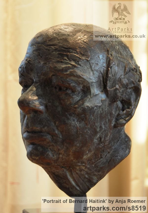 Modelled, bronze cast Famous People sculpture sculpture by sculptor Anja Roemer titled: 'Portrait of Bernard Haitink (bronze Bust sculpture)' - Artwork View 2