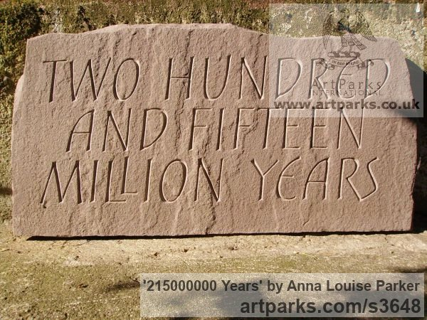 Red Sandstone Garden Or Yard / Outside and Outdoor sculpture by sculptor Anna Louise Parker titled: '215000000 Years (Carved Lettering in stone Slab Panel Block statue)' - Artwork View 5