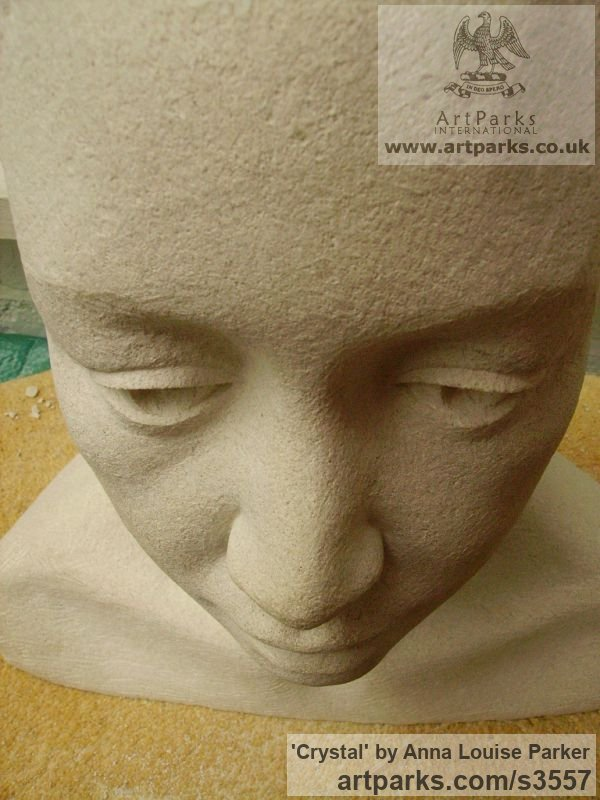 Portland Stone Portrait Sculptures / Commission or Bespoke or Customised sculpture by sculptor Anna Louise Parker titled: 'Crystal (Carved stone Commission Custom Head Bust)' - Artwork View 5