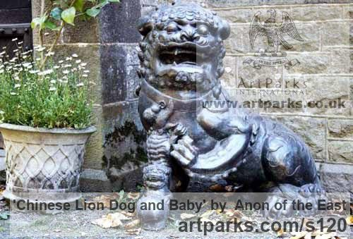 Bronze Garden Or Yard / Outside and Outdoor sculpture by sculptor Anon of the East titled: 'Chinese Lion Dog and Baby (bronze traditional Style Portal/Doorway Art)'