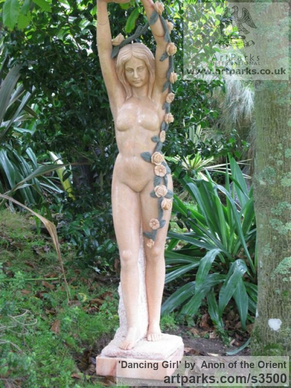 Sunset red marble Garden Or Yard / Outside and Outdoor sculpture by artist Anon of the Orient titled: 'Dancing Girl (nude Pink Carved marble life size Flower Garlands statue)' - Artwork View 2