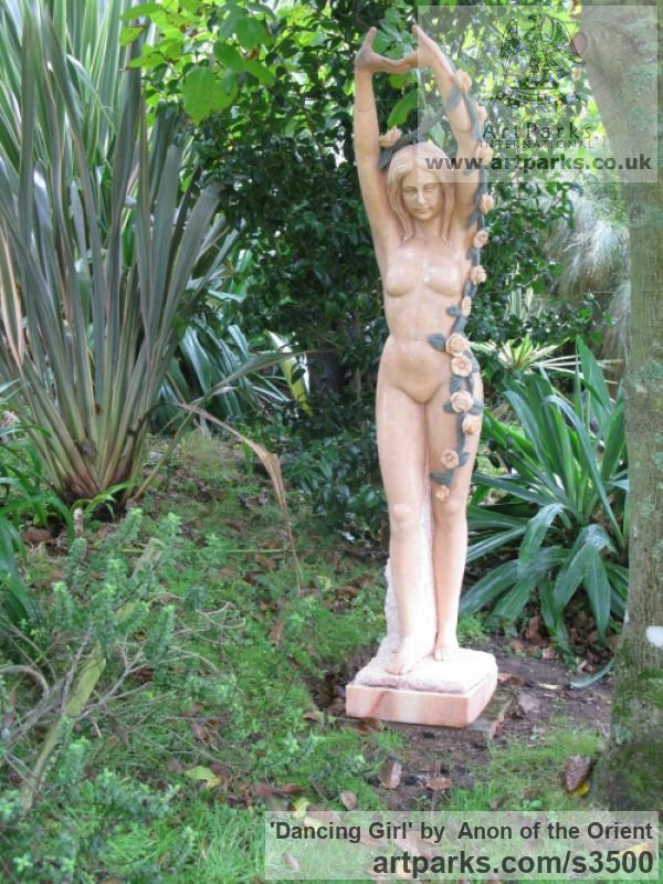 Sunset Red Marble Garden Or Yard / Outside and Outdoor sculpture by sculptor Anon of the Orient titled: 'Dancing Girl (nude Pink Carved marble life size Flower Garlands statue)' - Artwork View 3