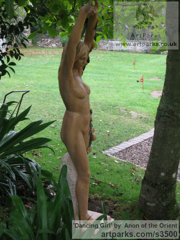 Sunset red marble Garden Or Yard / Outside and Outdoor sculpture by artist Anon of the Orient titled: 'Dancing Girl (nude Pink Carved marble life size Flower Garlands statue)' - Artwork View 4