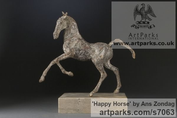 Bronze Horse Sculpture / Equines Race Horses Pack HorseCart Horses Plough Horsess sculpture by sculptor Ans Zondag titled: 'Happy Horse (Small Prancing Skittering sculpture)'