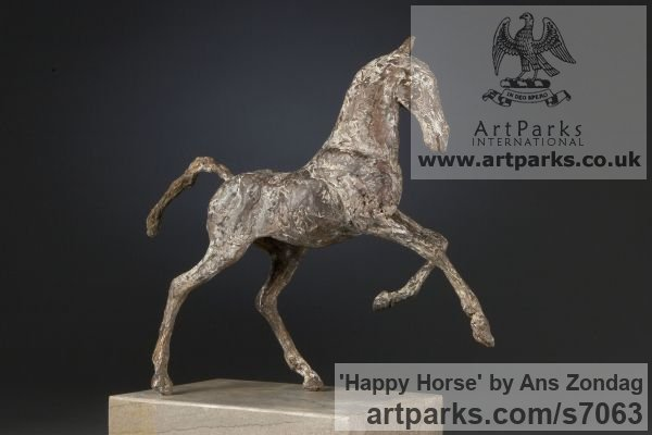 Bronze Horse Sculpture / Equines Race Horses Pack HorseCart Horses Plough Horsess sculpture by sculptor Ans Zondag titled: 'Happy Horse (Small Prancing Skittering sculpture)' - Artwork View 2