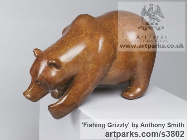 Bronze Wild Animals and Wild Life sculpture by sculptor Anthony Smith titled: 'Fishing Grizzly sculpture (Poised Bear Bronze sculpturette)'