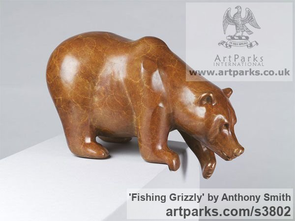 Bronze Wild Animals and Wild Life sculpture by sculptor Anthony Smith titled: 'Fishing Grizzly sculpture (Poised Bear Bronze sculpturette)' - Artwork View 2