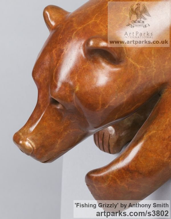 Bronze Wild Animals and Wild Life sculpture by sculptor Anthony Smith titled: 'Fishing Grizzly sculpture (Poised Bear Bronze sculpturette)' - Artwork View 3