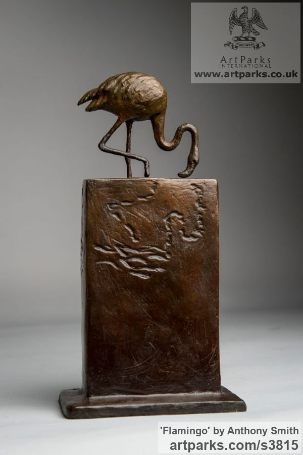 Bronze Wild Animals and Wild Life sculpture by sculptor Anthony Smith titled: 'Flamingo (small Wading Feeding sculpturette)' - Artwork View 2