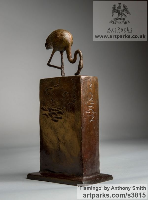 Bronze Wild Animals and Wild Life sculpture by sculptor Anthony Smith titled: 'Flamingo (small Wading Feeding sculpturette)' - Artwork View 4