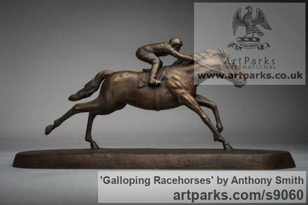Bronze Horse Sculpture / Equines Race Horses Pack HorseCart Horses Plough Horsess sculpture by sculptor Anthony Smith titled: 'Galloping Racehorse (Full Stretch Little sculptures)'