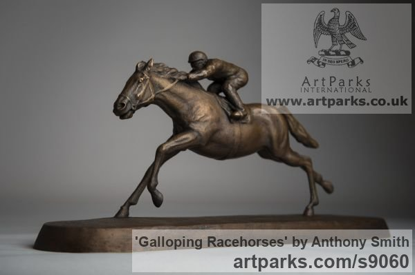 Bronze Horse Sculpture / Equines Race Horses Pack HorseCart Horses Plough Horsess sculpture by sculptor Anthony Smith titled: 'Galloping Racehorse (Full Stretch Little sculptures)' - Artwork View 2