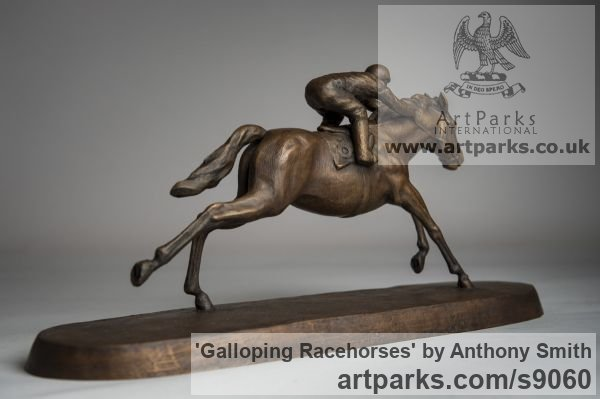 Bronze Horse Sculpture / Equines Race Horses Pack HorseCart Horses Plough Horsess sculpture by sculptor Anthony Smith titled: 'Galloping Racehorse (Full Stretch Little sculptures)' - Artwork View 3