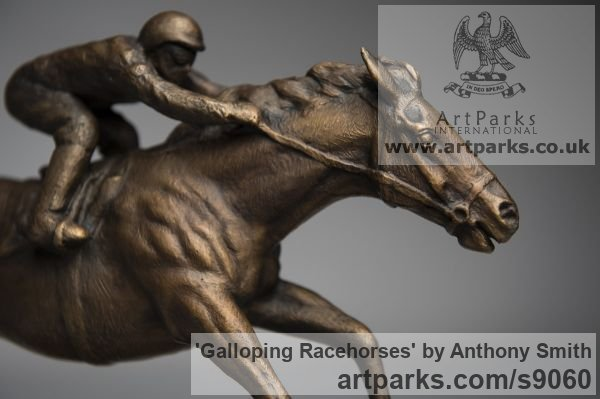 Bronze Horse Sculpture / Equines Race Horses Pack HorseCart Horses Plough Horsess sculpture by sculptor Anthony Smith titled: 'Galloping Racehorse (Full Stretch Little sculptures)' - Artwork View 4
