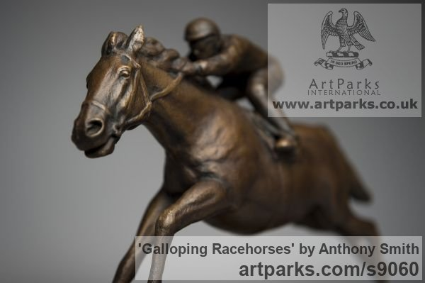 Bronze Horse Sculpture / Equines Race Horses Pack HorseCart Horses Plough Horsess sculpture by sculptor Anthony Smith titled: 'Galloping Racehorse (Full Stretch Little sculptures)' - Artwork View 5