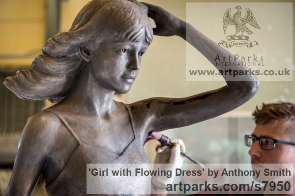 Bronze Garden Or Yard / Outside and Outdoor sculpture by sculptor Anthony Smith titled: 'Girl with Flowing Dress (life size Yard garden statue)' - Artwork View 4